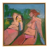 "Image of ""Women Deux"" Contemporary Abstract Figurative Nude Oil Painting by Rebecca Jack, Framed For Sale"