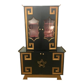 1970s Hollywood Regency Greek Key Pagoda Display Cabinet For Sale