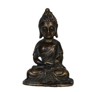 Late 19th Century Antique Chinese Carved Ming Style Bronze Buddha Statue For Sale