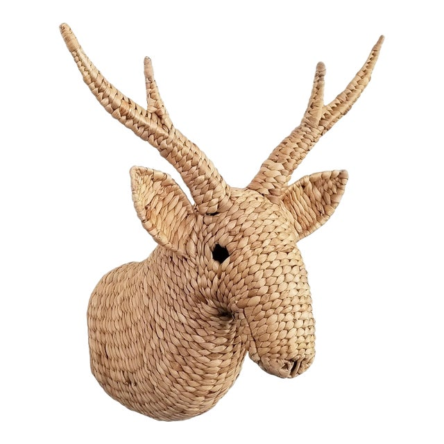 Seagrass Raffia Wicker Stag Wall Sculpture-Mid Century Modern Tropical Coastal Nautical Rattan Bamboo Tree Taxidermy Antler Mario Lopez Torres For Sale