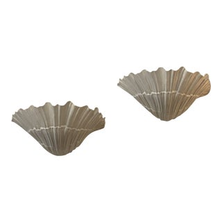 Vintage Palm Beach Shell Seashell White Lacquered Wall Sconce Lamps Lights -A Pair For Sale