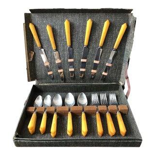 1930s Service for 6 Butterscotch Bakelite Flatware Set - 24 Pieces For Sale