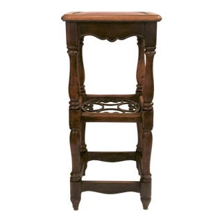 Antique French Country Oak and Iron Tavern Bar Stool With Leather Seat, Circa 1890-1910. For Sale