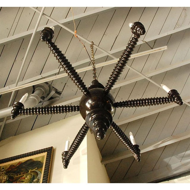 Wood Paul Marra Design Spool Chandelier For Sale - Image 7 of 7