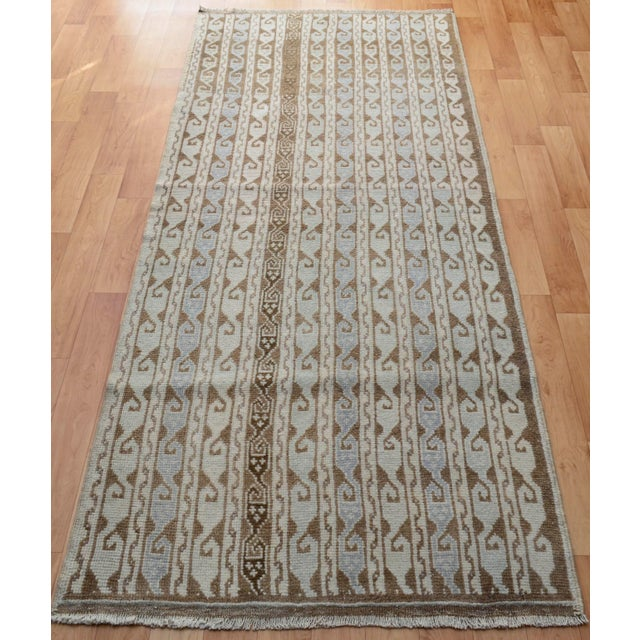 Turkish Hand-Knotted Oushak Runner Rug - 3' X 7' - Image 3 of 9