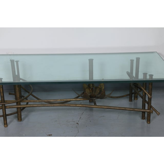 Gold Brutalist Lotus Coffee Table For Sale - Image 8 of 10
