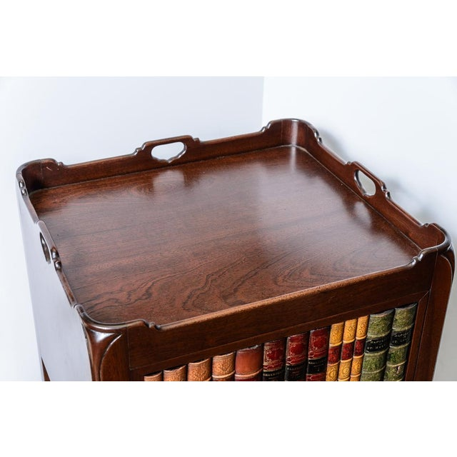 Wood English Style Faux Book Front Mahogany Nightstands - a Pair For Sale - Image 7 of 8