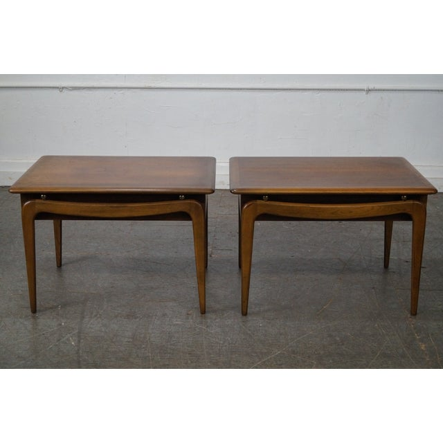 """Lane """"Perspective"""" Walnut End Tables - A Pair - Image 10 of 10"""