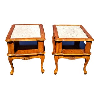 1950s French Provincial Marble Top End Tables - A Pair For Sale