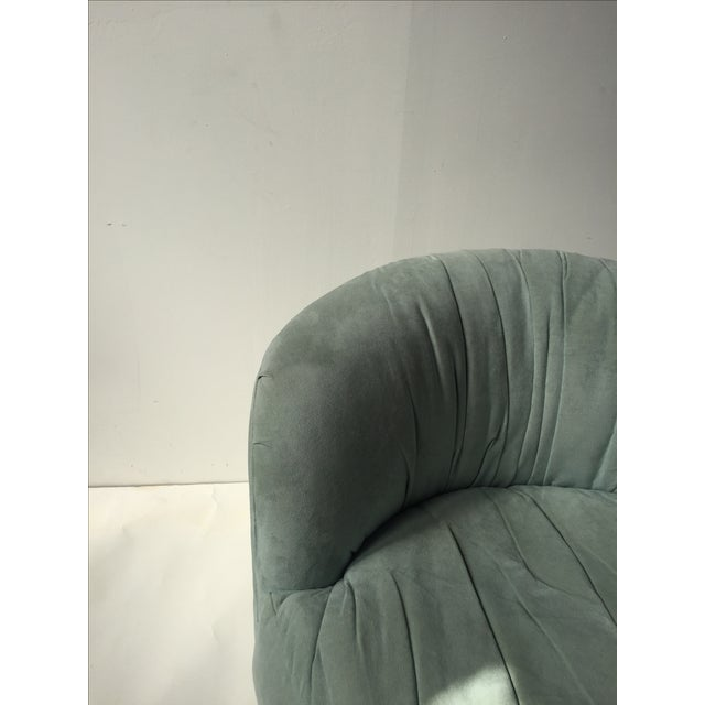 Vintage Mint Suede Swivel Chair - Image 4 of 5