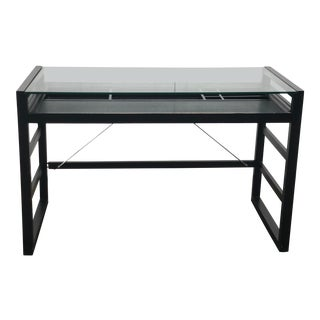Crate & Barrel Modern Glass Top Writing Desk