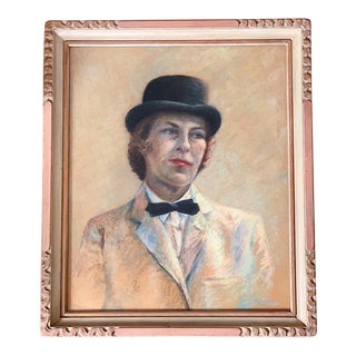 1960s Vintage Androgynous Female Framed Chalk Portrait Drawing For Sale