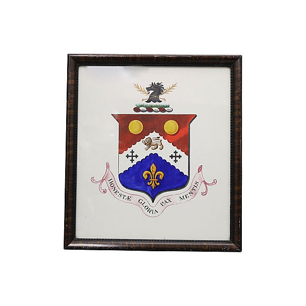 Antique English Coat of Arms Watercolor For Sale - Image 4 of 4