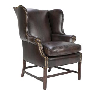 George III Mahogany Wing Chair with Leather Upholstery For Sale