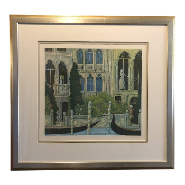 Thomas McKnight Framed Color Etching Venetian Idyll 99/100 Pencil Signed 1981 For Sale