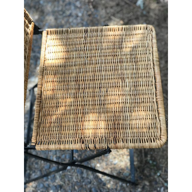 1960s Boho Chic Rattan & Wrought Iron Folding Chair For Sale In Seattle - Image 6 of 9