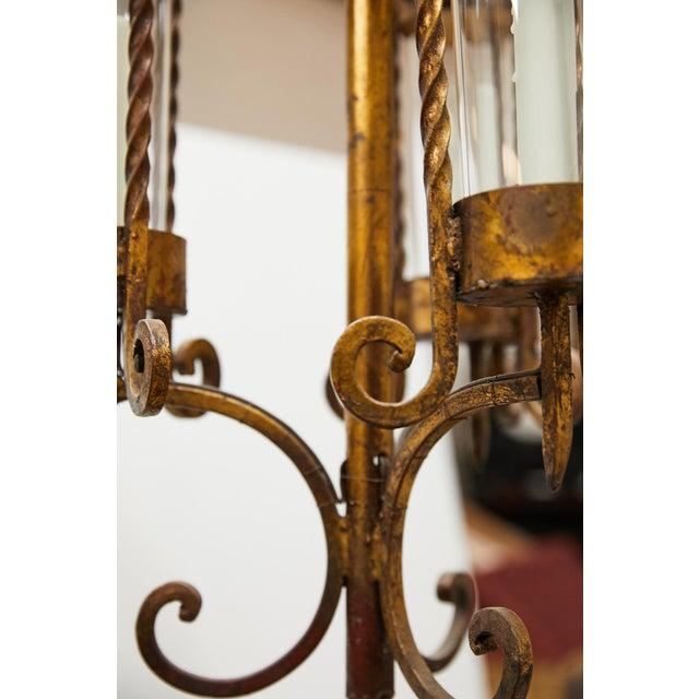 Italian Gilt Iron Three-Arm Chandelier For Sale In Atlanta - Image 6 of 13