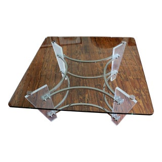 1970s Modern Charles Hollis Jones Chrome, Lucite, and Glass Coffee Table For Sale
