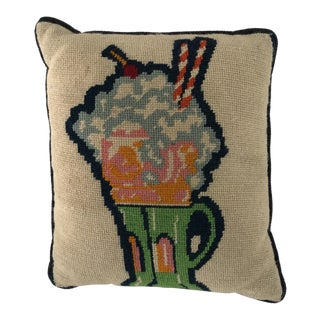 "Midcentury Fine Handmade Needlepoint ""Soda Fountain Float"" Pillow 12""x13"" For Sale"