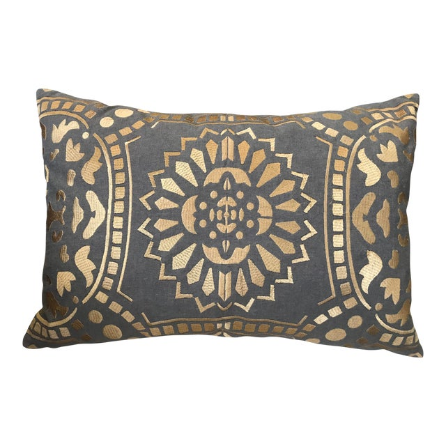 Contemporary Geometric Gold Pillow For Sale