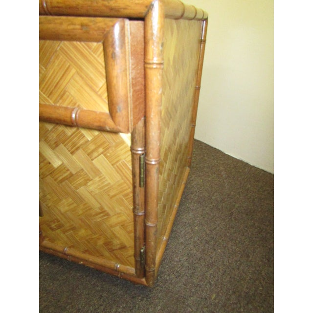 Split Bamboo & Woven Accent Table Cabinet For Sale - Image 4 of 7