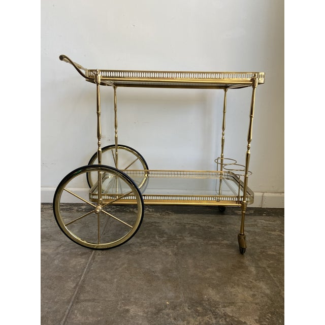 Vintage Brass Bar Cart with Tray For Sale - Image 12 of 12