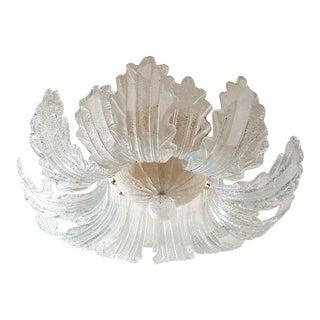 Mid Century Modern Flush Mount Murano Glass Chandelier by Barovier For Sale