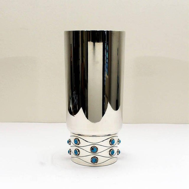 """Sterling silver vase with encrustation of turquoise enamels. Mark: Serrahima Stamps: """"Star"""" and illegible. Weight: 605 grs..."""