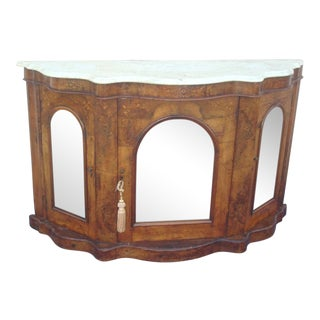 Walnut Inlay Design Mirror Door Serpentine Marble Top Credenza / Server For Sale