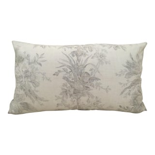 Shabby Chic Brown + White Toile Pillow Cover For Sale