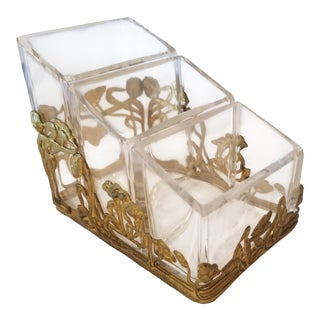 Gilt Metal and Crystal Container For Sale