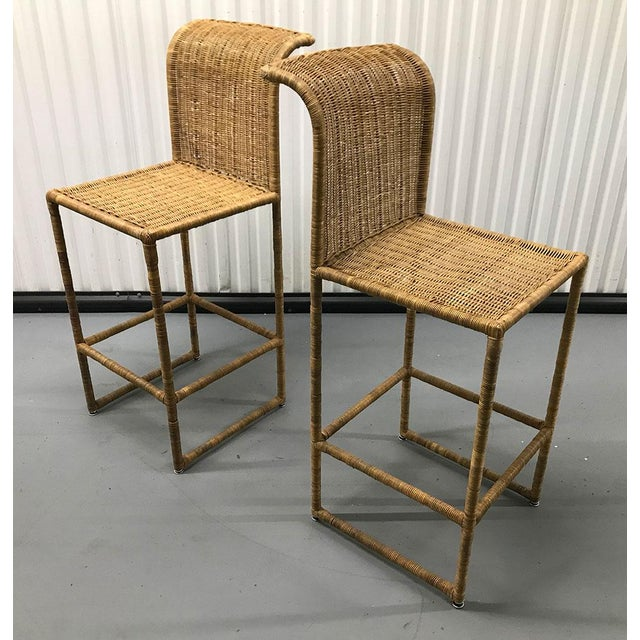 1970s Mid-Century Modern Rattan Bar Stools - a Pair For Sale - Image 5 of 13