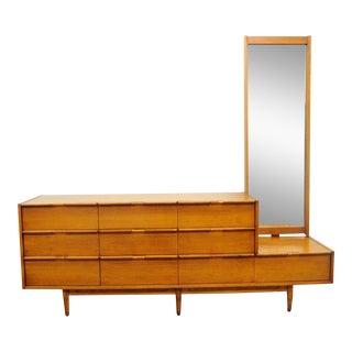 Vintage Mid Century Modern Danish Style Walnut Credenza Long Dresser & Mirror