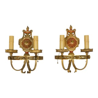 Hollywood Regency Red and Gold Polychrome Sconces - a Pair For Sale