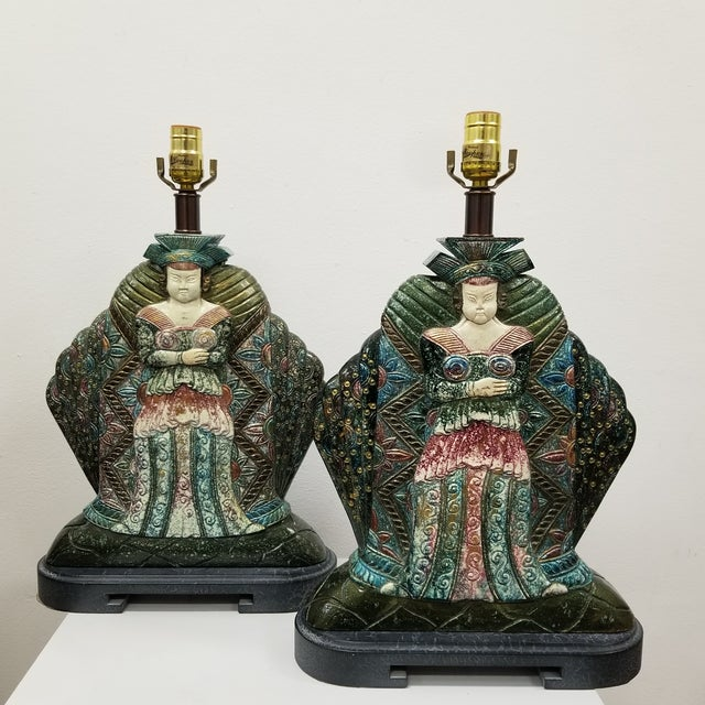 Wood Vintage Asian Goddess Lamps-A Pair For Sale - Image 7 of 7