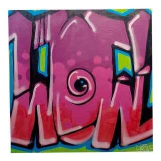 Ernest Zacharevic Abstract Graffiti in Shade of Pink -Oil Painting For Sale