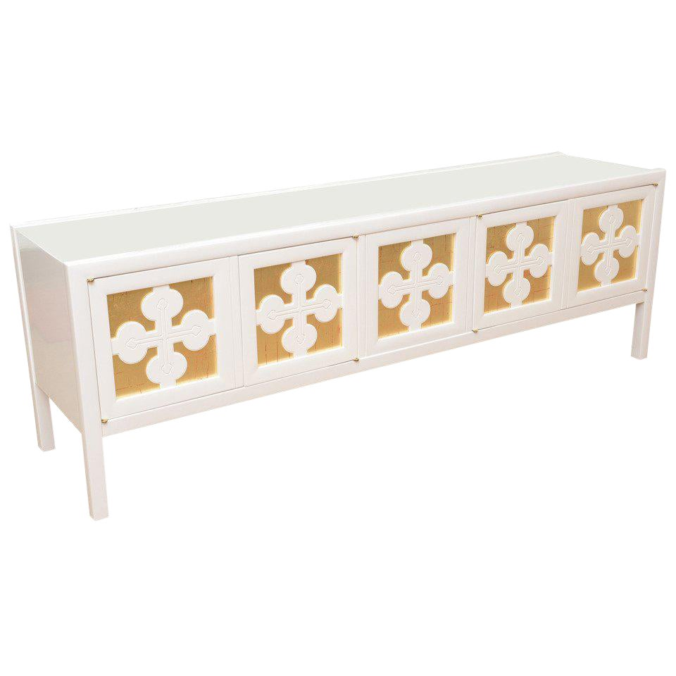 1960s Mid Century Modern White Lacquered And Gold Leaf Sideboard