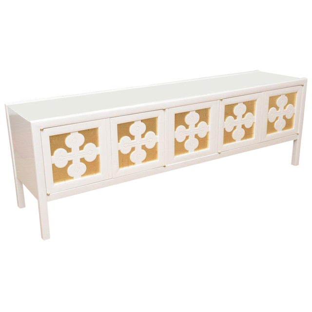 Mid-Century Modern White Lacquered and Gold Leaf Sideboard Cabinet Final Markdown For Sale