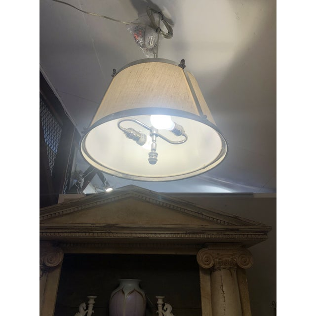Linen and Polished Nickel Contemporary Chandelier For Sale - Image 4 of 8