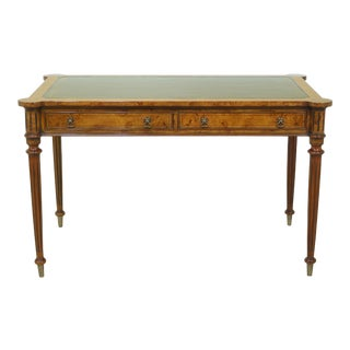 English Style Burl Walnut Leather Top Writing Desk For Sale