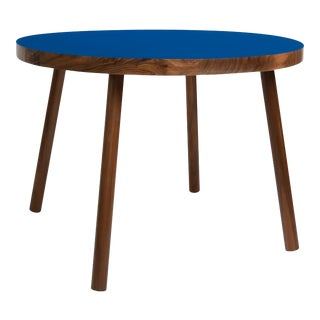 """Poco Large Round 30"""" Kids Table in Walnut With Pacific Blue Top For Sale"""