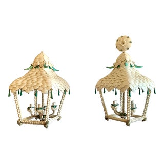 Pagoda White and Turquoise Shell Lanterns - a Pair For Sale