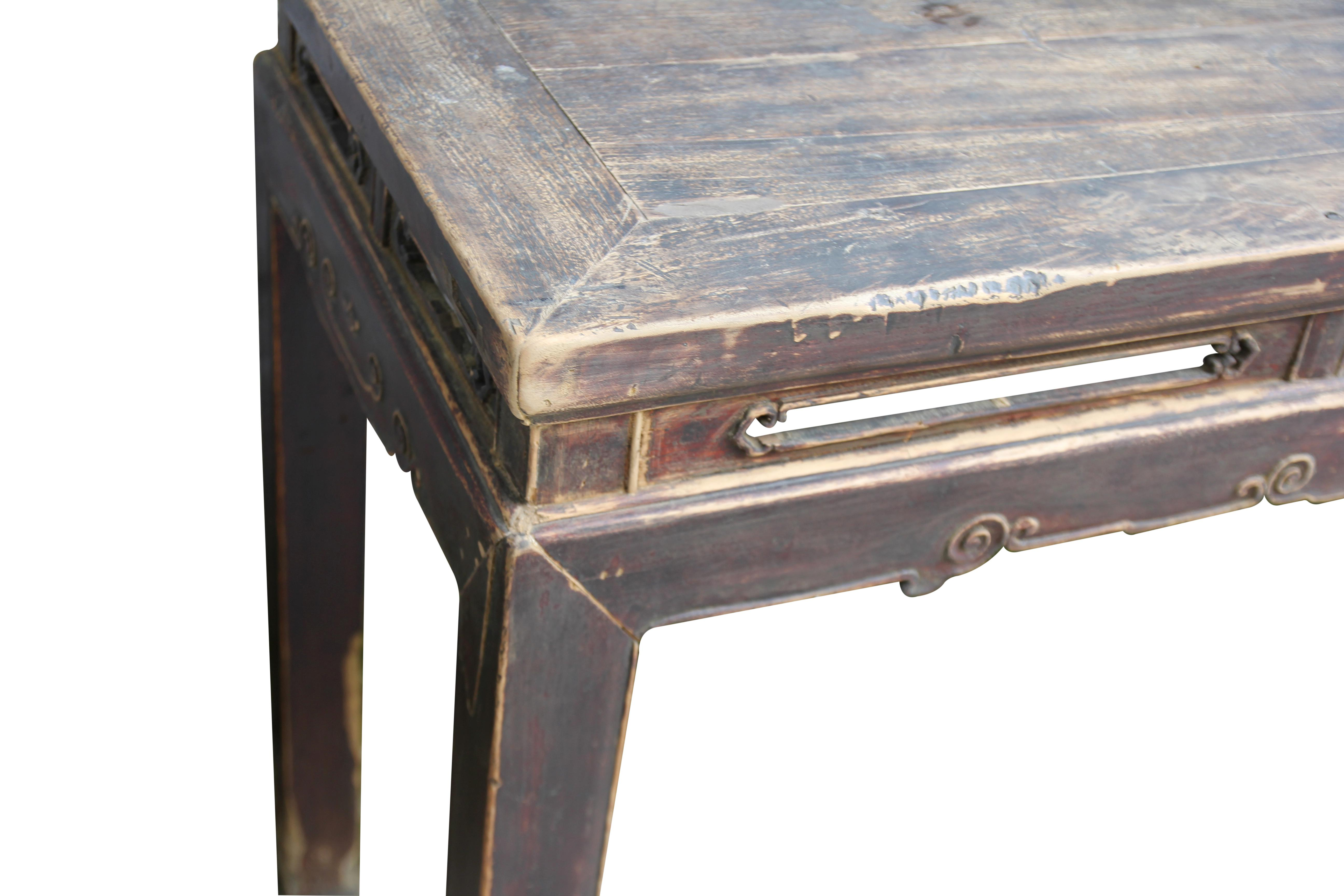 Brown 19th Century Asian Antique Console Table With Simple Carved Apron For  Sale   Image 8