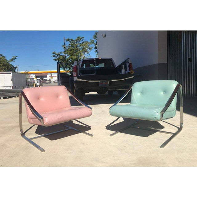 1970's Vintage Grasshopper Chrome Steal Lounge Chairs- A Pair For Sale - Image 11 of 11