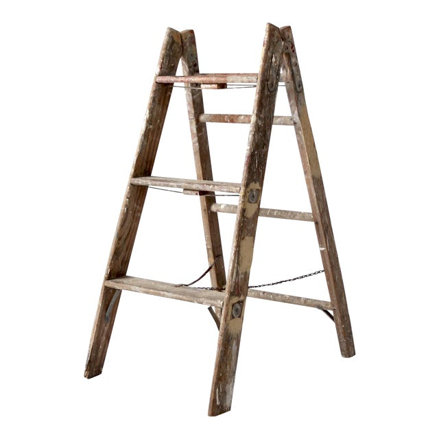 Vintage Wooden Folding Ladder For Sale