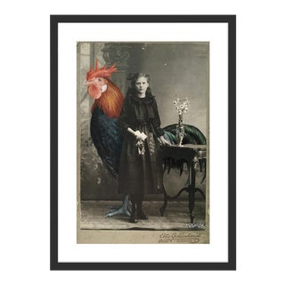 Rooster II by Anja Wuelfing in Black Frame, Small Art Print For Sale