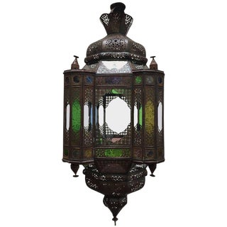 Moroccan Moorish Light Fixture With Clear and Colored Glass For Sale