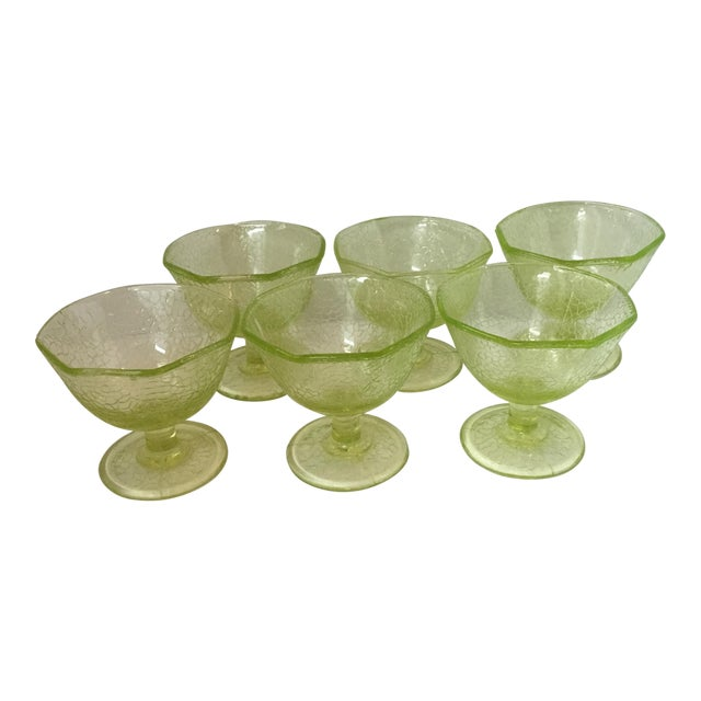 Cracked Uranium Lime Green Glass Dishes - Set of 6 For Sale