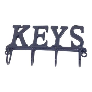 Satin Navy Blue Wrought Iron Entryway Key Hook