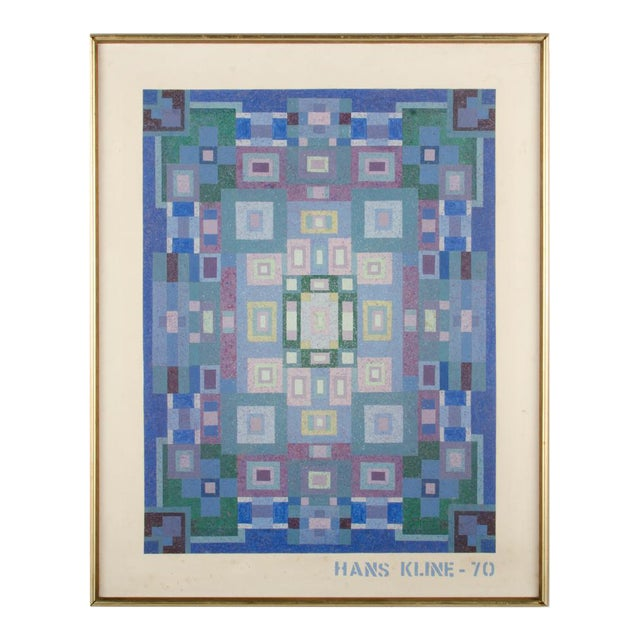 """Mid 20th Century """"Blue Kaleidescope"""" Abstract Oil Painting by Hans Kline, Framed For Sale"""